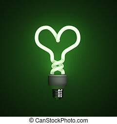 Energy saving compact fluorescent lightbulb, lamp on a green...