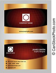 Red and gold modern business card