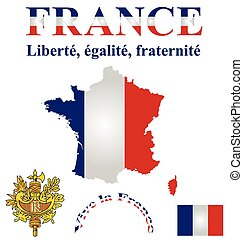 French Flag - Flag and coat of arms of the French Republic...