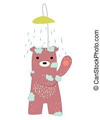 bear bathing - cute bear bathingvectorbath time