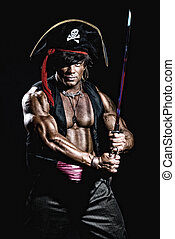 Muscular man in a pirate costume.