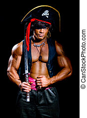 Muscular man in a pirate costume. Aggressive man with a...