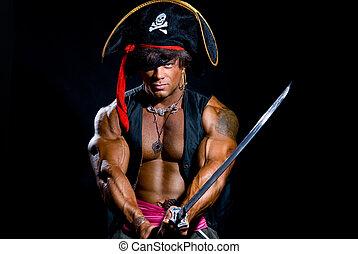 Portrait of a muscular man in a pirate costume. Aggressive...