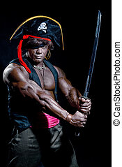 Muscular black man in a pirate hat and sword on a black...
