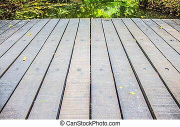 Wooden walkway in the garden