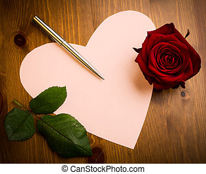 Valentine Love Heart Shaped Note With Pen And Rose - A...