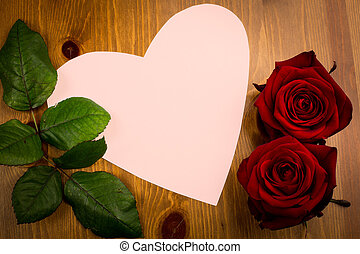 Pink Heart Shaped Note With Leaf And Rose - A pink heart...