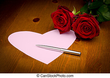 Pink Heart Note With Pen And Two Roses - Pink note paper in...