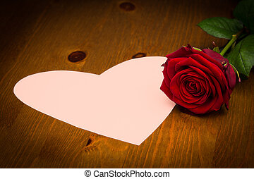 Pink Heart Note Paper on Wood With Rose - Pink note paper in...