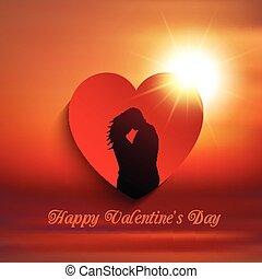 valentines day couple background 0601 - Silhouette of a...
