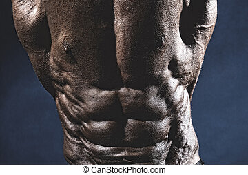 Close-up of abdominal muscles bodybuilder.