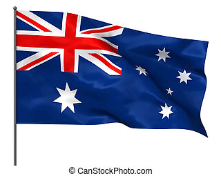 Australian flag - Waving Australian flag isolated over white...