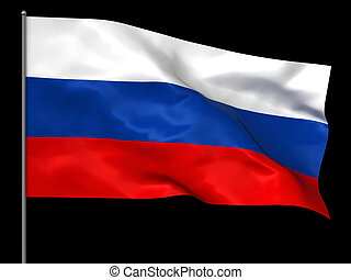 Russian flag - Waving Russian flag isolated over white...