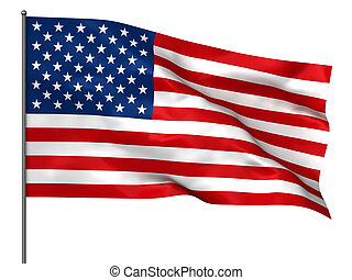 American flag - Waving American flag isolated over white...