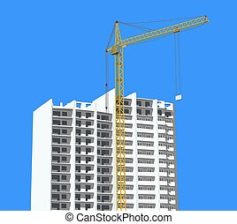 Crane against new building - Construction site with crane...