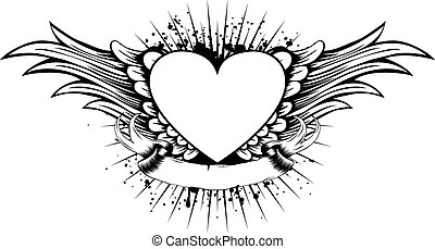 heart wings - Abstract vector illustration frame with wings