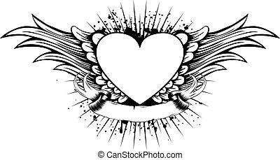 Coração, asas,
