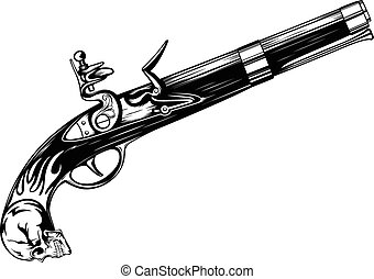 old flintlock pistol - Abstract vector illustration old...
