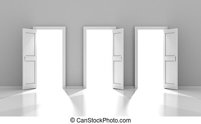 Three doors with copyspace, 3d render