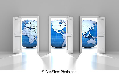 Opened doors leading to different parts of the world