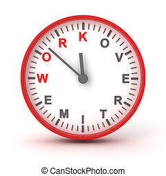 Clock with work overtime text, 3d render