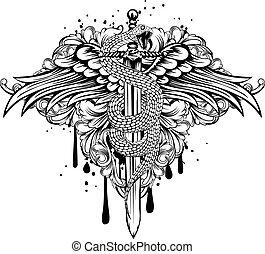 sword wings snake patterns