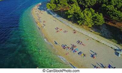 Primosten beaches aerial shot - Aerial shot of the Primosten...
