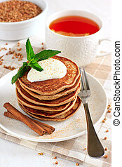 Buckwheat pancakes with banana - Sugar free buckwheat...