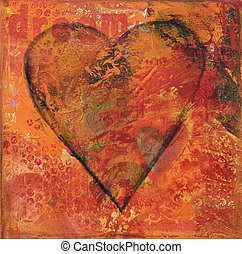 Collage artwork heart - heart collage painting, artwork is...