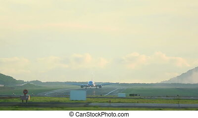 Taxiing - The airplane was taxiing to the start