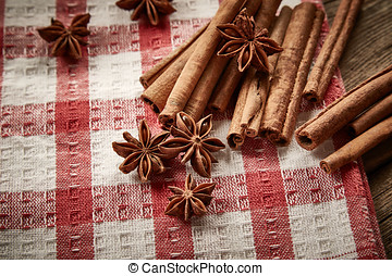 Cinnamon and star anise on napkin