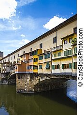View of Ponte Vecchio and River Arno, Florence, Tuscany,...