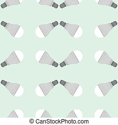 Led lighting lamp - Seamless pattern of led bulbs on green...