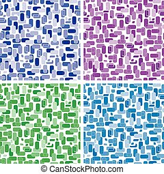 Set of seamless backgrounds of rectangles - Set of seamless...