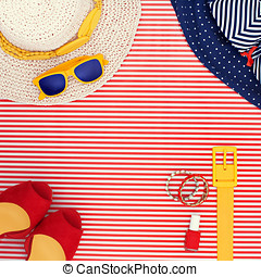 Womens Beach Themed Clothing on Striped Background with...