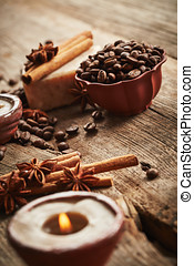 Vintage spa still life with coffee beans on wooden...