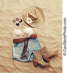 Womens Western Beach Themed Clothing from Above - Still Life...
