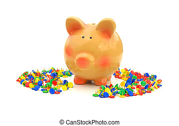 One way out 2 - A piggy-bank surrounded by sharp push-pins...