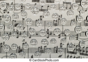music waterdrops - musical notation in drops of water on a...