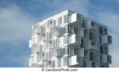 Modern apartment building with balconies - White abstract...
