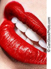 Sensual open red Lips make up closeup - Sensual open red...