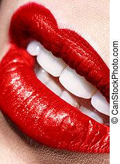 sensual, abierto, rojo, labios, marca, Arriba, closeup, ,