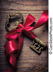 Old Key - Old key decorated with red ribbon