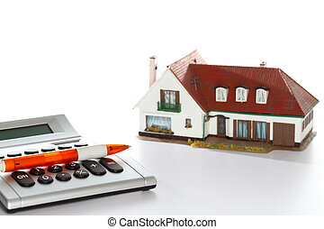 symbolic calculating costs of a house with white background