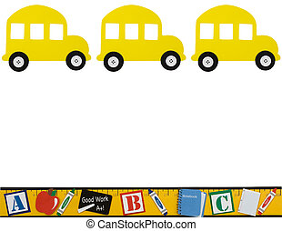School Days - A yellow school bus with a ruler making a...