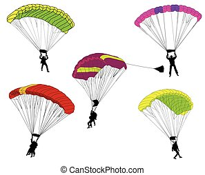 skydivers illustration - vector