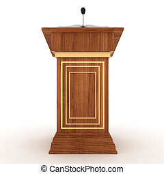 Rostrum Stand with Microphone - Wooden Rostrum Stand with...