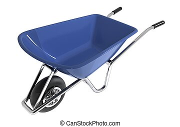 Garden wheelbarrow isolated on white