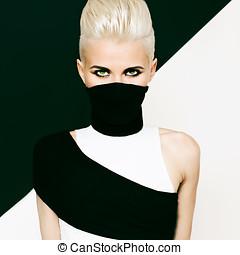 black and white background girl ninja style. fashionable...