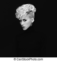 Sensual portrait lady with fashionable hairstyle on black...